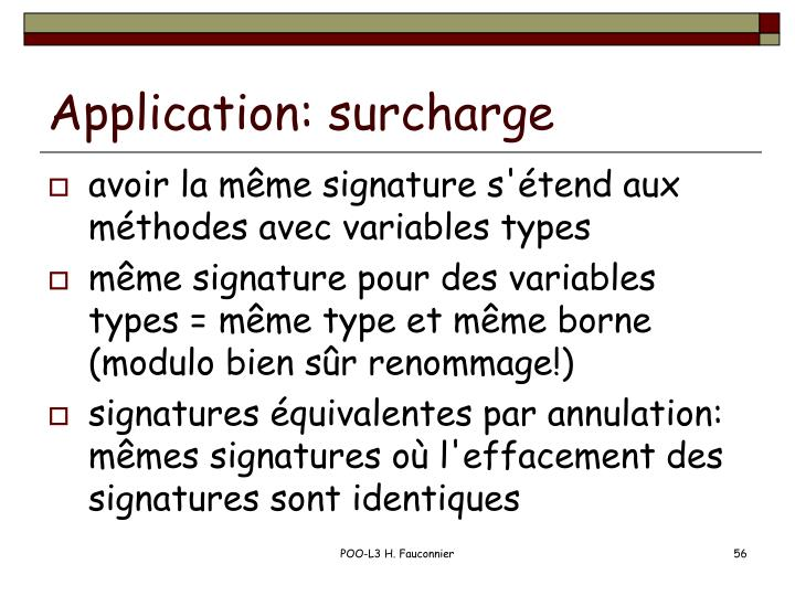 Application: surcharge