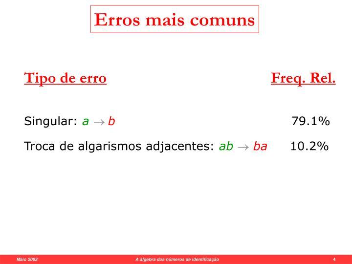 Erros mais comuns