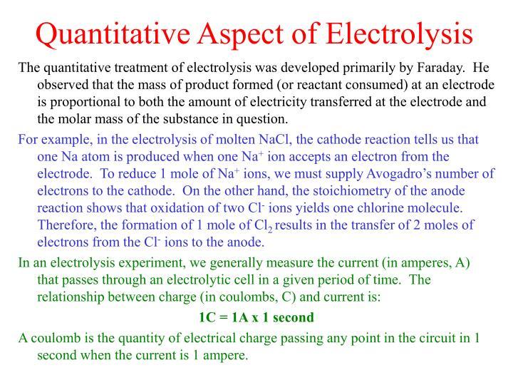 Quantitative Aspect of Electrolysis