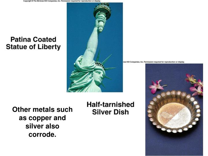 Other metals such as copper and silver also corrode.