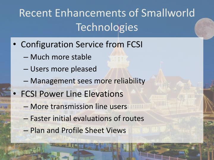 Recent Enhancements of Smallworld Technologies