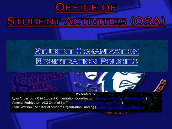 office of student activities osa n.