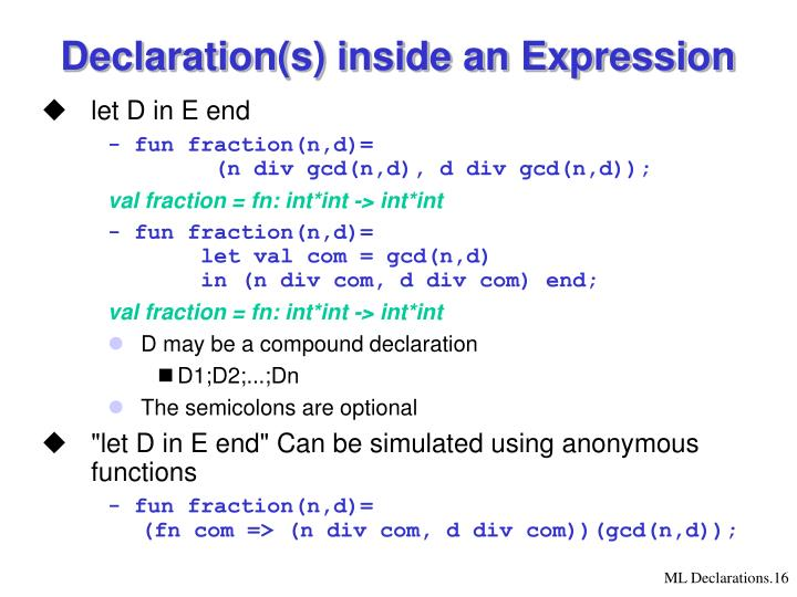 Declaration(s) inside an Expression
