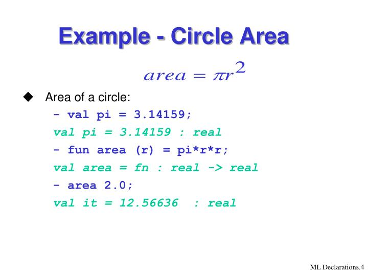 Example - Circle Area