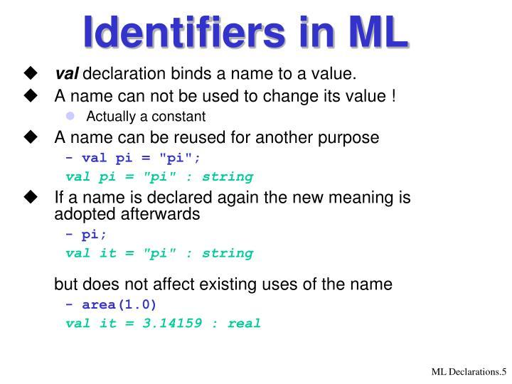 Identifiers in ML