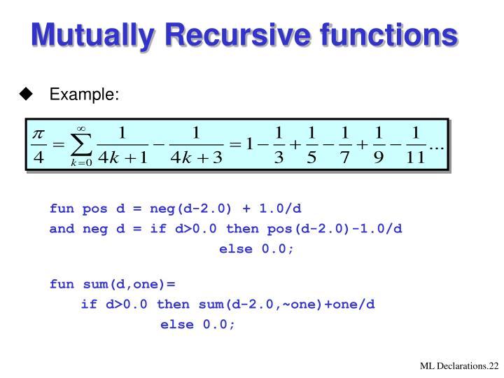 Mutually Recursive functions