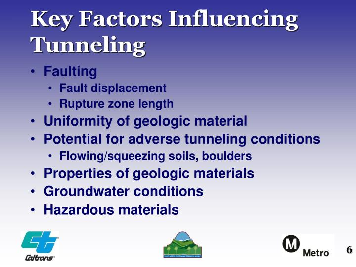 Key Factors Influencing Tunneling