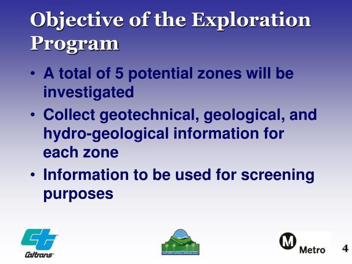 Objective of the Exploration Program