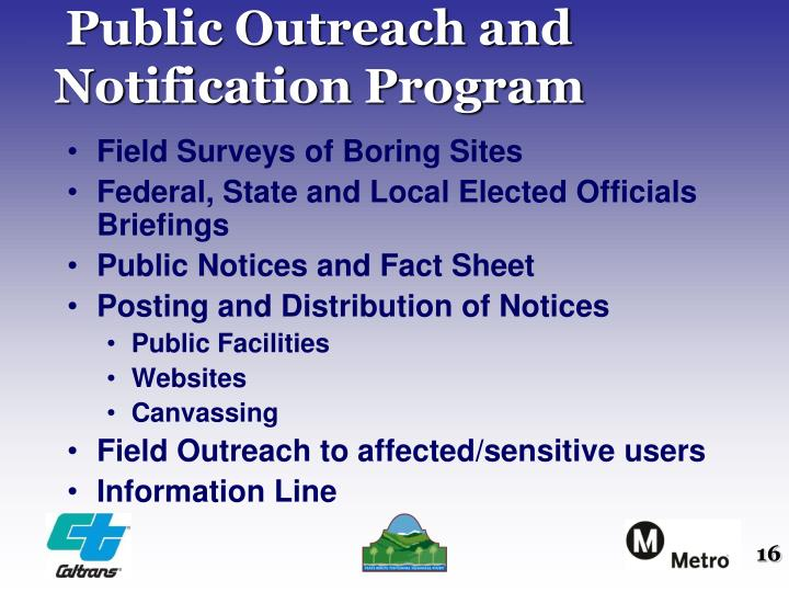 Public Outreach and Notification Program