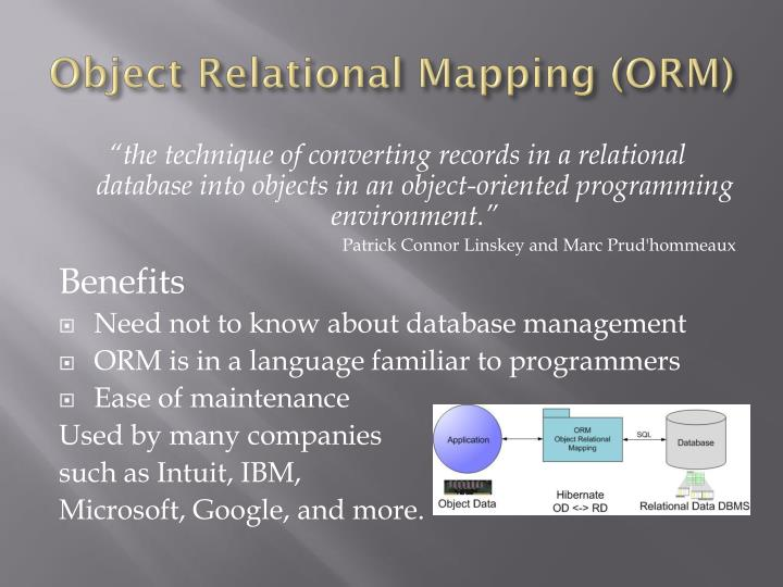 Object relational mapping orm