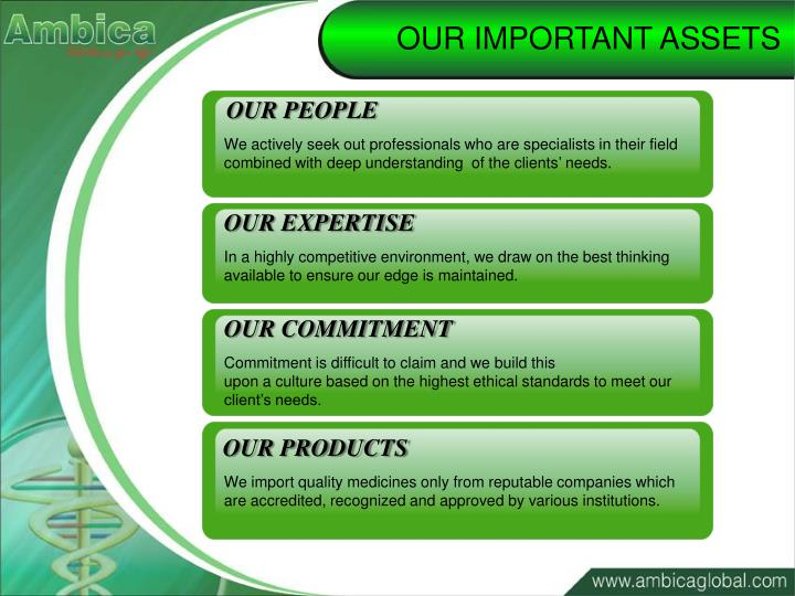 OUR IMPORTANT ASSETS