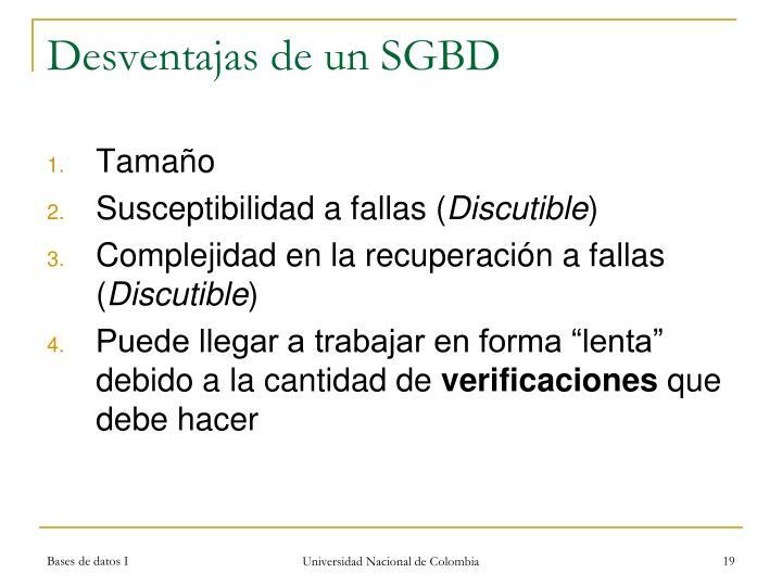 Desventajas de un SGBD