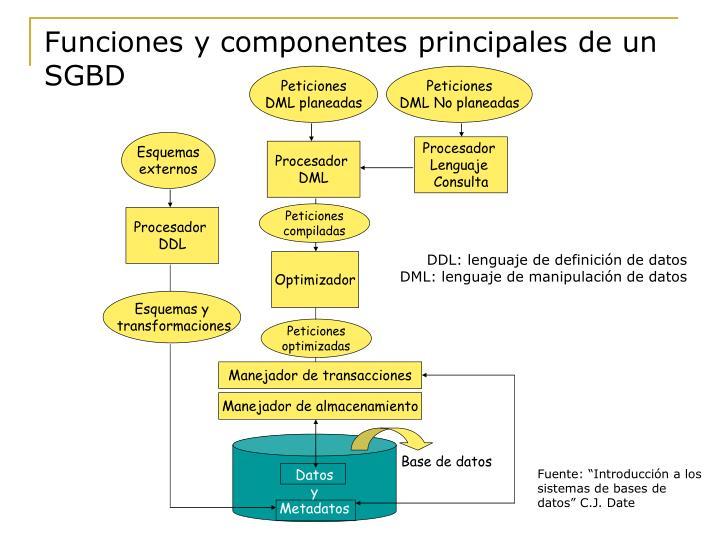 Funciones y componentes principales de un SGBD