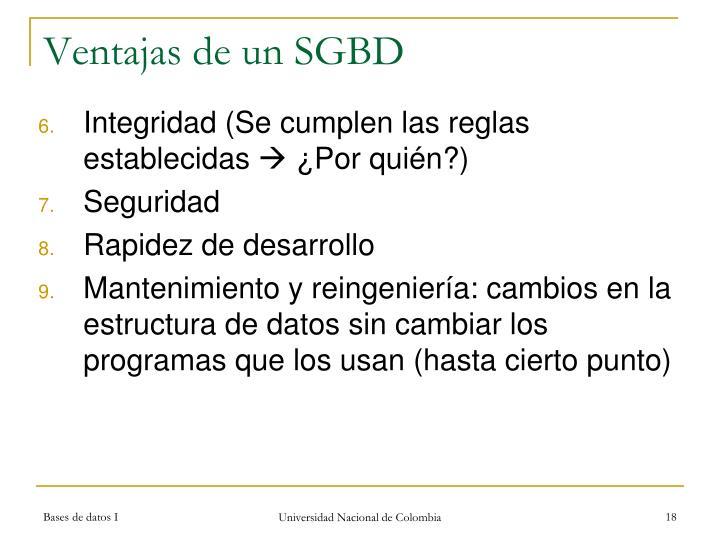 Ventajas de un SGBD