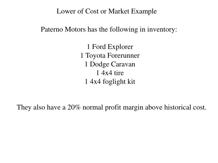 Lower of Cost or Market Example