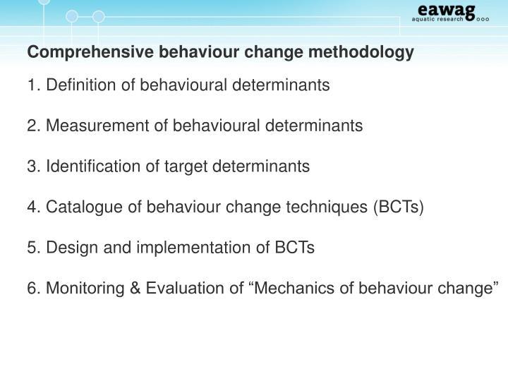 Comprehensive behaviour change methodology