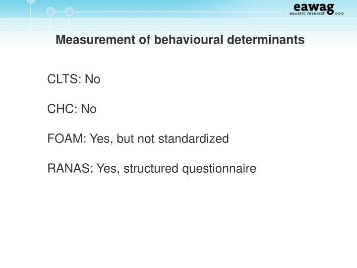 Measurement of behavioural determinants