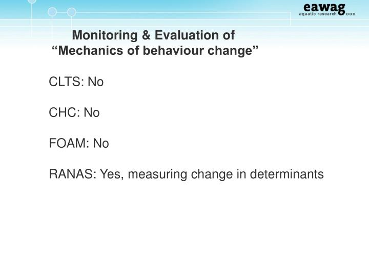 Monitoring & Evaluation of