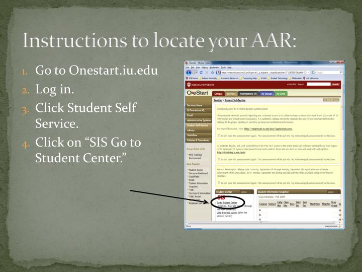 Instructions to locate your AAR: