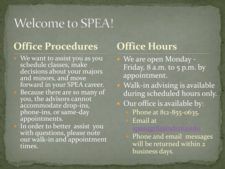 Welcome to spea