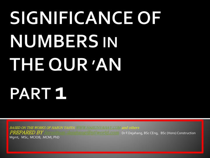 significance of numbers in the qur an part 1 n.