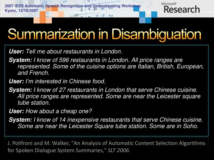 Summarization in Disambiguation