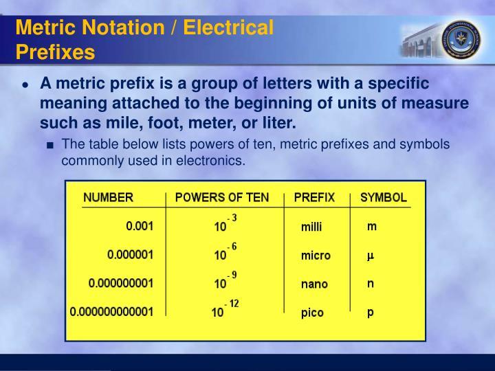 Metric Notation / Electrical