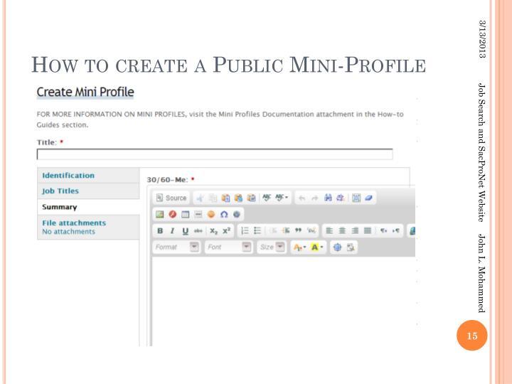 How to create a Public Mini-Profile