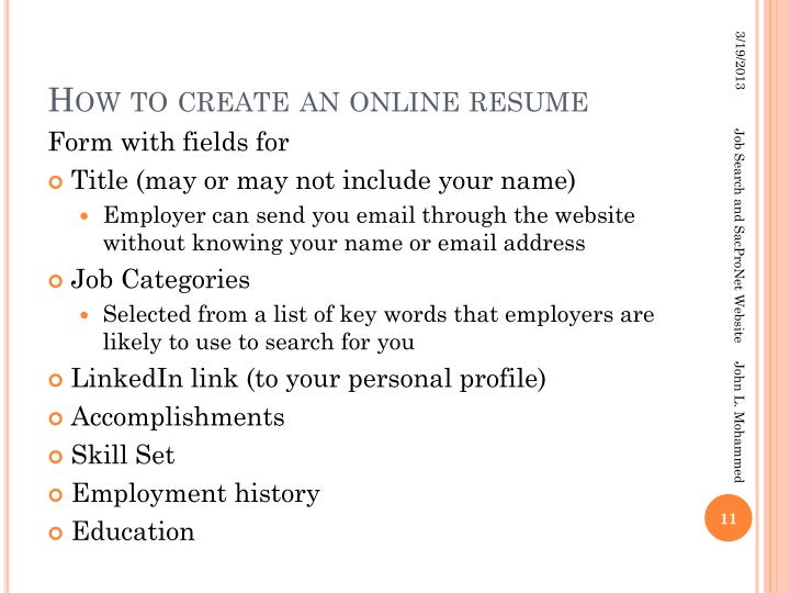 How to create an online resume