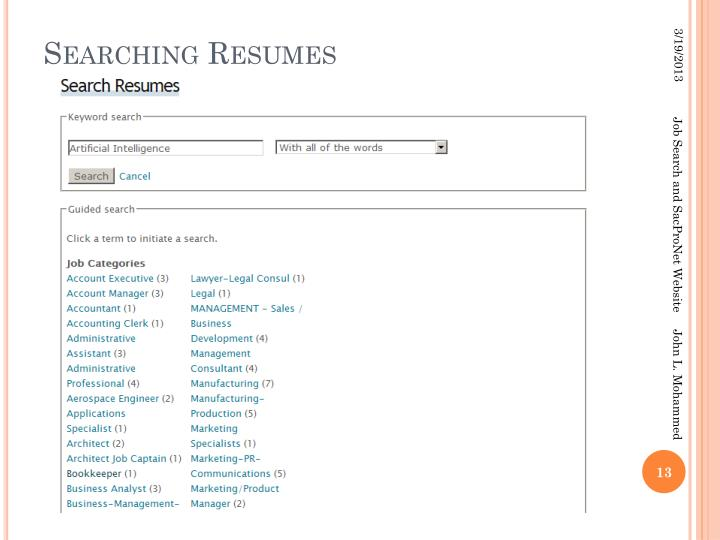 Searching Resumes