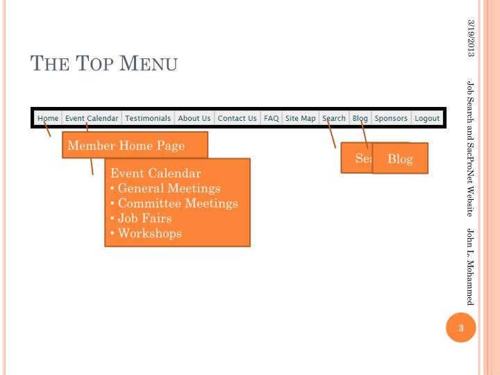The top menu