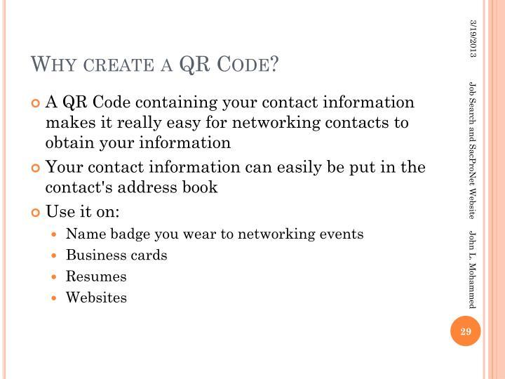 Why create a QR Code?