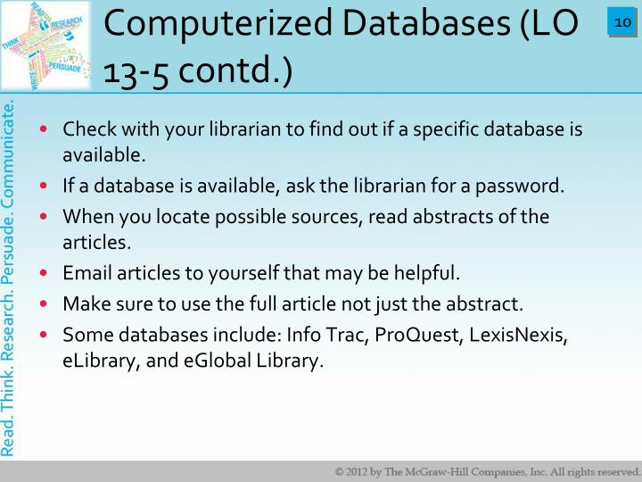 Computerized Databases (LO 13-5 contd.)