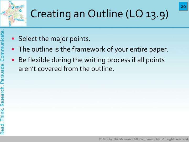 Creating an Outline (LO 13.9)