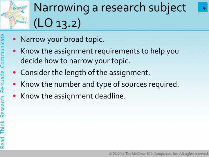 Narrowing a research subject (LO 13.2)
