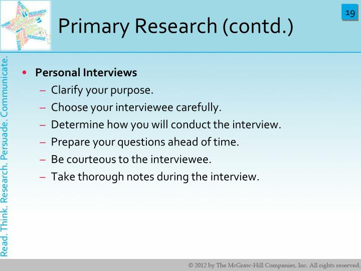 Primary Research (contd.)