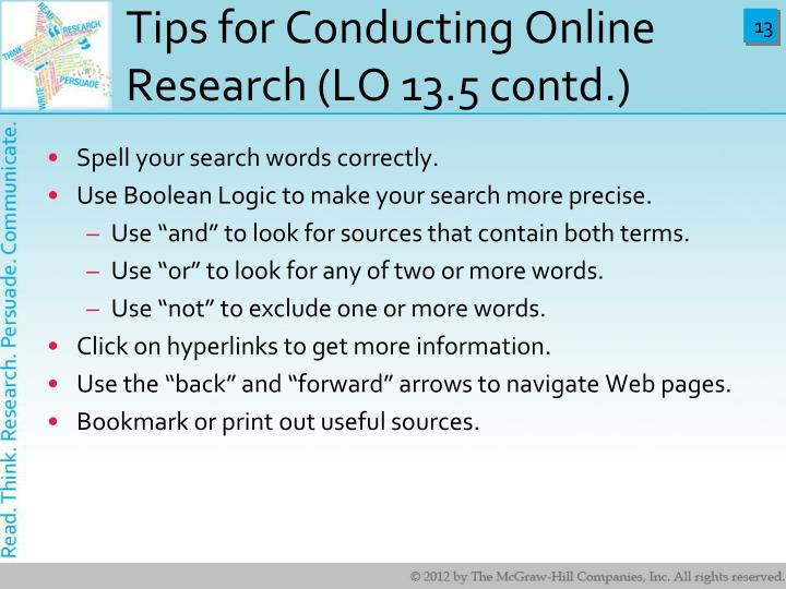 Tips for Conducting Online Research (LO 13.5 contd.)