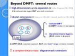 beyond dmft several routes
