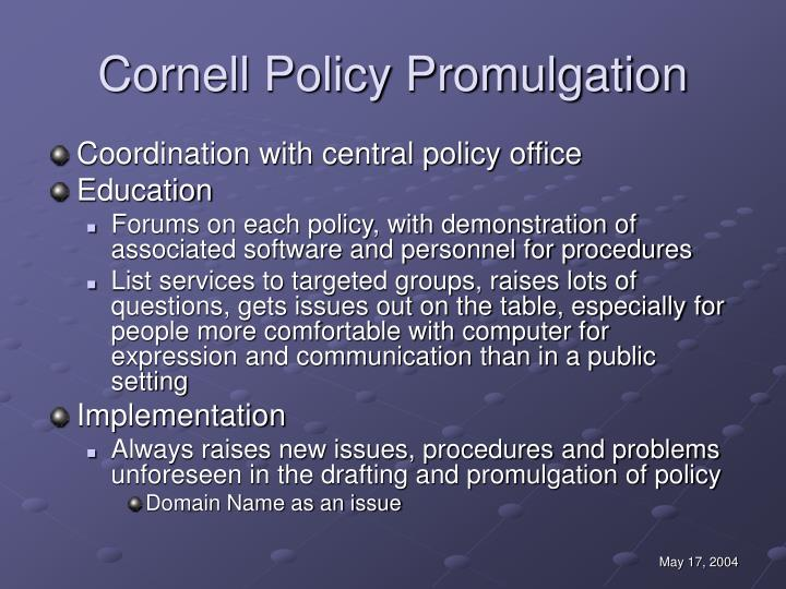 Cornell Policy Promulgation
