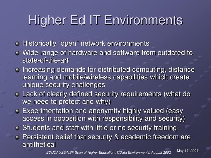 Higher ed it environments