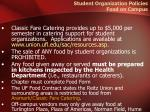 student organization policies food on campus