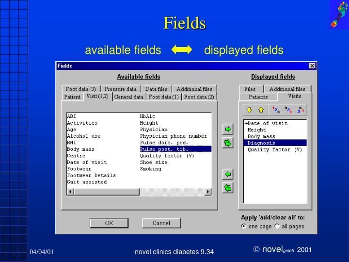 available fields
