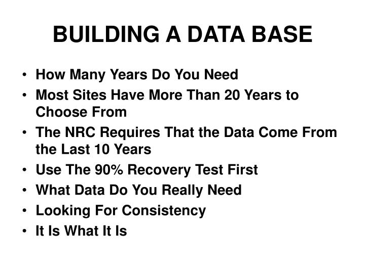 Building a data base