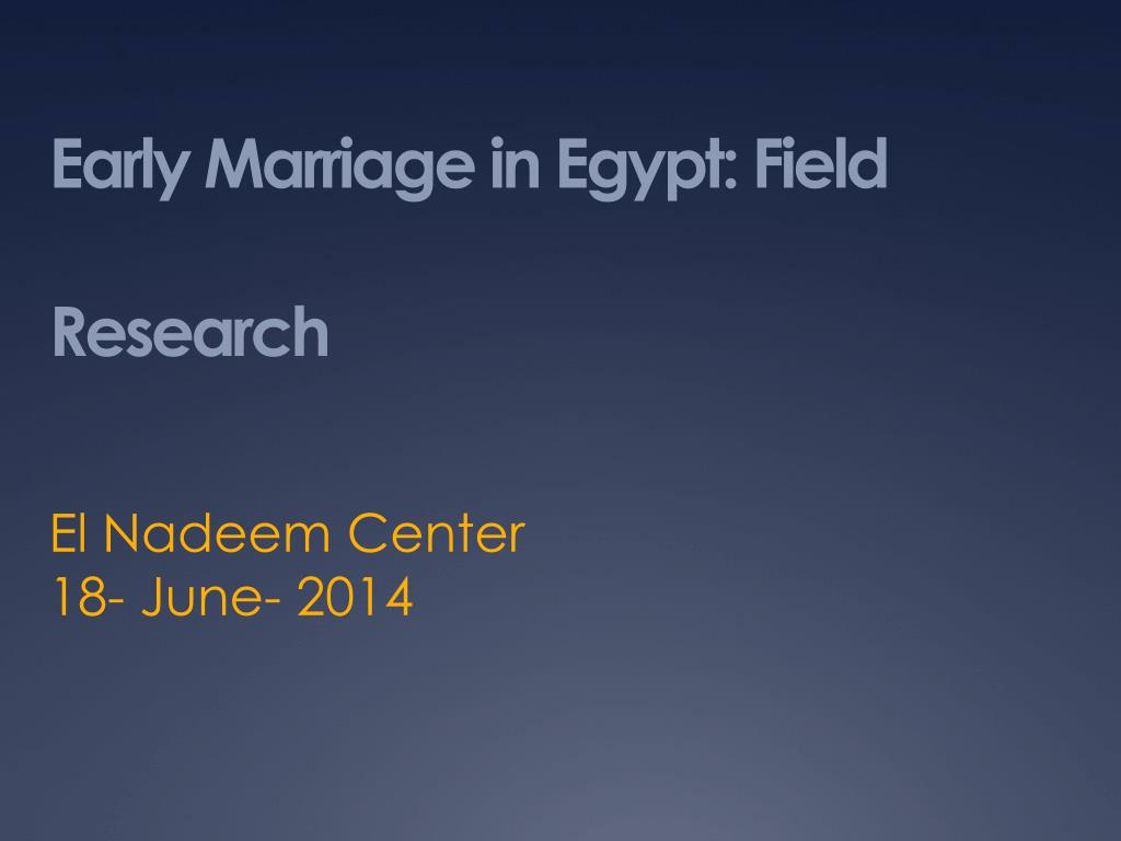 early marriage in egypt