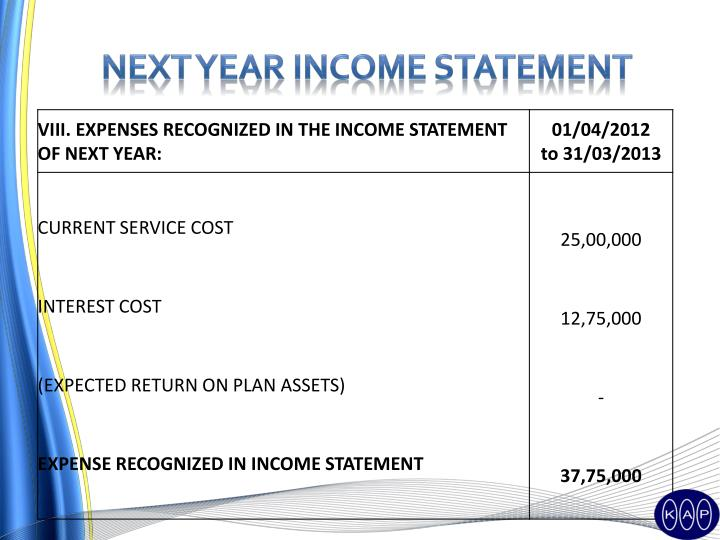 Next year income statement