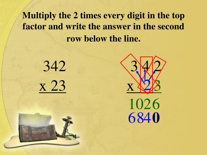 Multiply the 2 times every digit in the top factor and write the answer in the second row below the line.