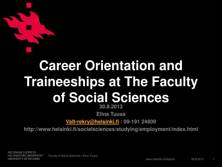career orientation and traineeships at the faculty of social sciences n.