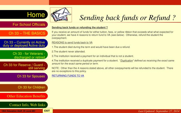 Sending back funds or Refund ?