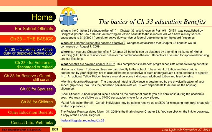 The basics of Ch 33 education Benefits