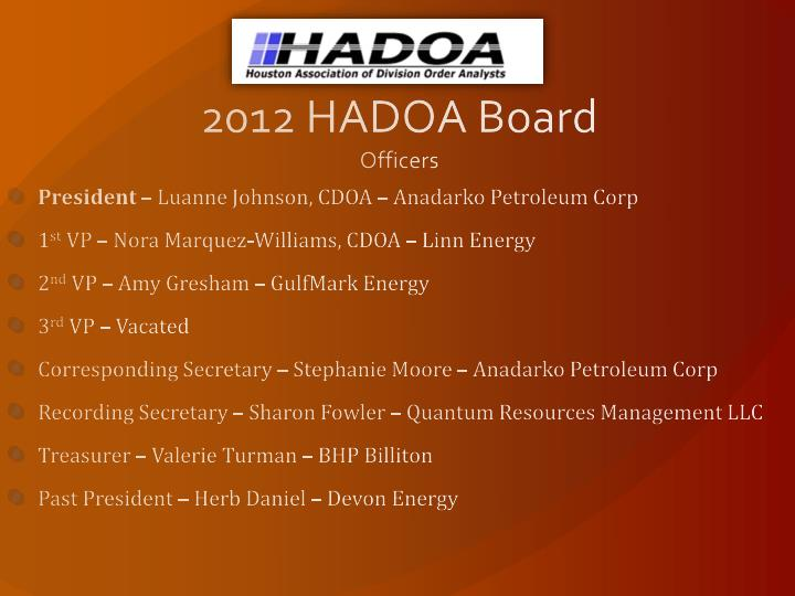 2012 hadoa board officers
